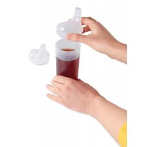 Прозрачный стакан с двуми крышками